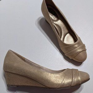 Coach and Four   Metallic Gold Wedges